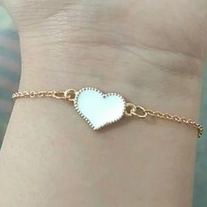 Gold Bracelet with White Enamel Heart